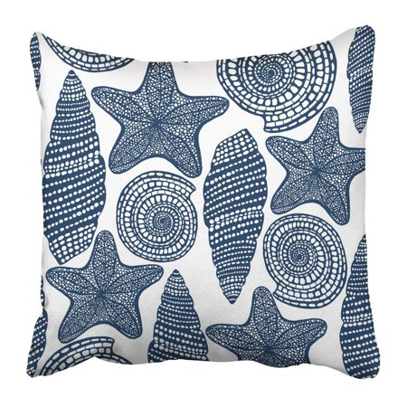 ARTJIA Blue Life Shell and Starfish Graphic Sea in Style for Design Pink Ocean Marine Underwater Animal Pillowcase Pillow Cushion Cover 16x16 inch - Starfish Pink