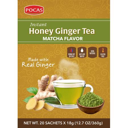 Pocas Honey Ginger Tea, Matcha, 12.7 Ounce, 20 Bags (Pack of 2) Extension Honey Ginger
