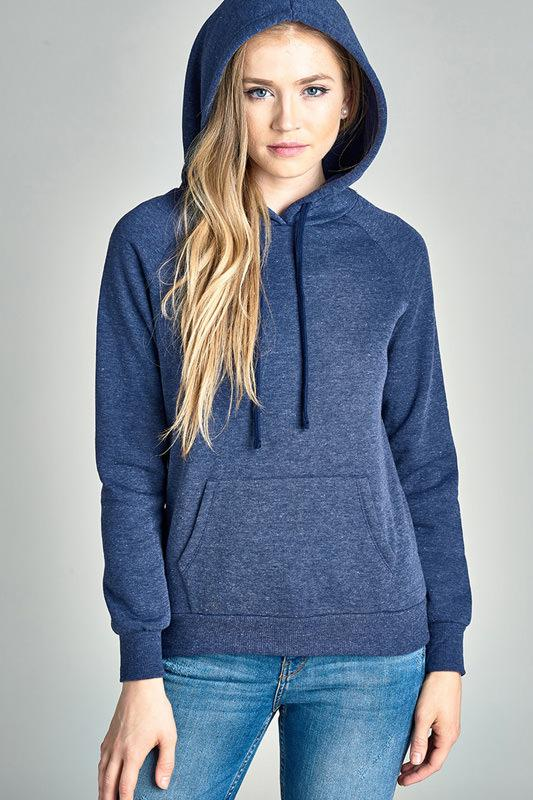 Long Sleeve Brushed French Terry Pullover Hoodie w/ Kangaroo Pocket