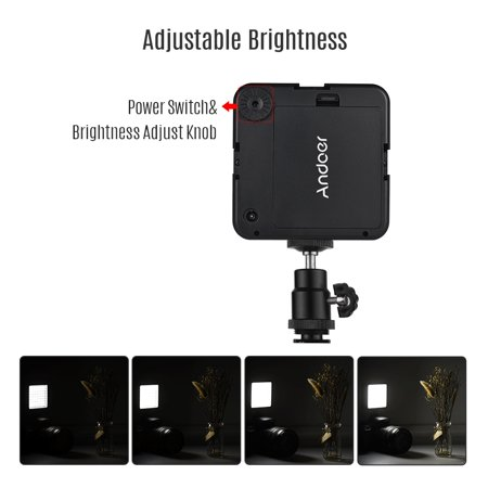 Andoer WY-64 Mini LED Light Panel 5W Dimmable 5600K Camcorder Video Lamp with Shoe Mount Adapter for Canon Nikon Sony DSLR Camera - image 4 of 7