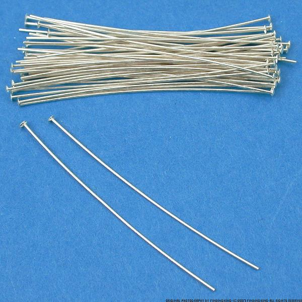 50 Sterling Silver Jewelry Headpins 26 Gauge 1.5 Inches