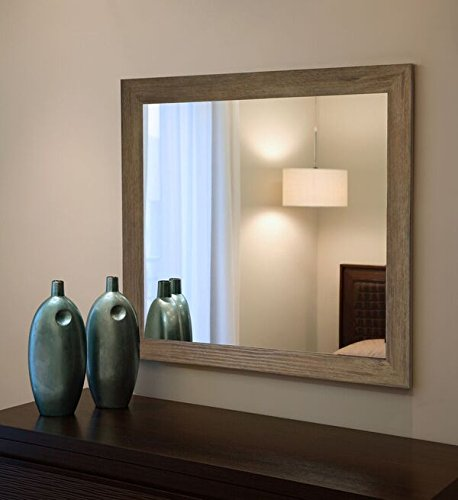 "Rayne Mirrors V063S American Made Barnwood Wall Mirror, 21.5"" X 25.5"""", Brown Finish"