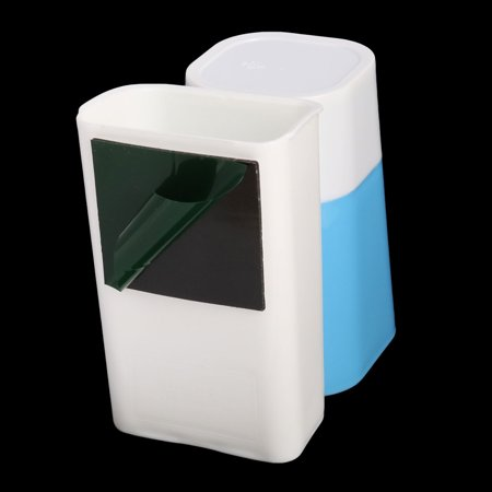 Bathroom Plastic Wall-mounted Design Toothbrush Holder Cup Blue White 2 in 1 - image 5 of 5