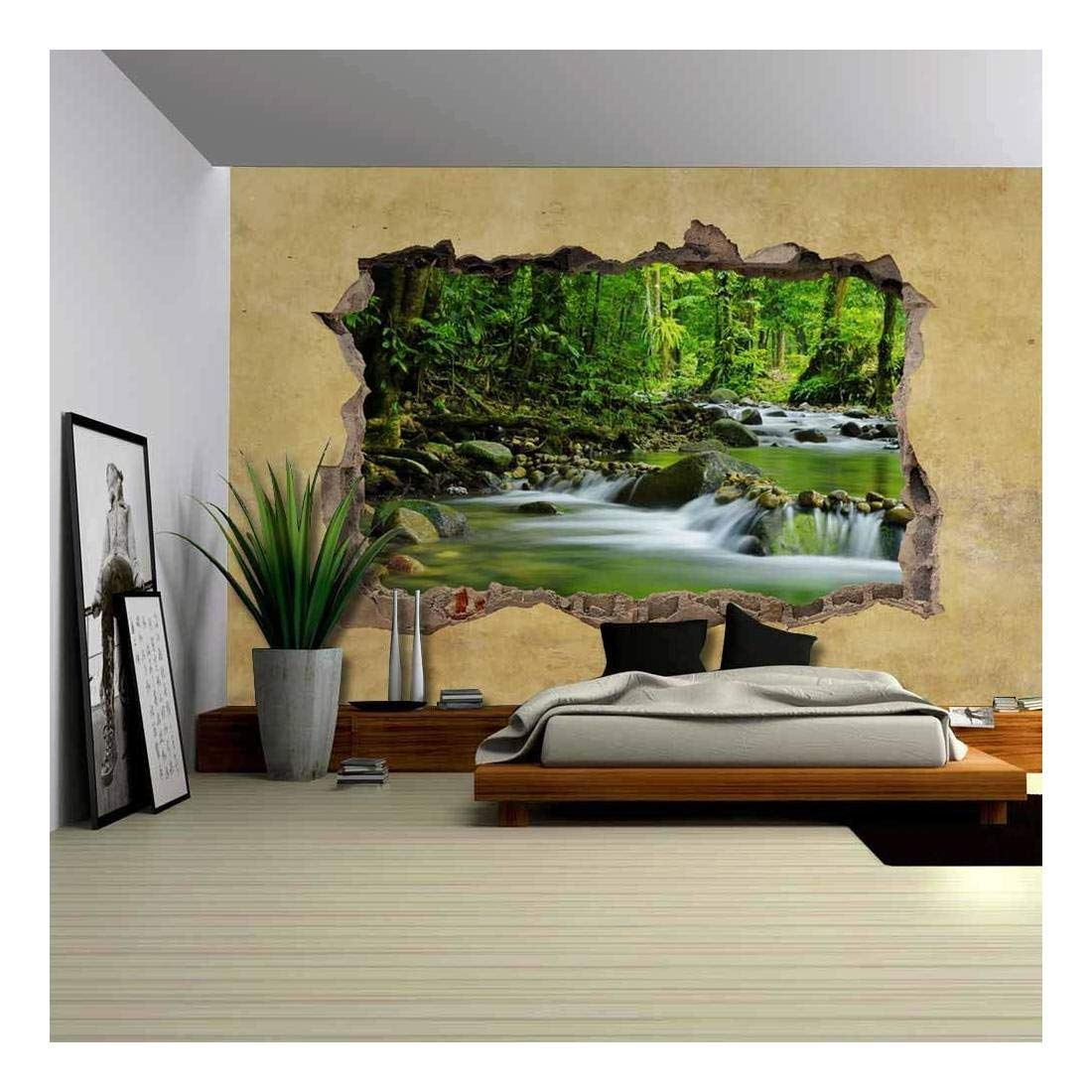 wall26 Cascading Spring in Tropical Rainforest Viewed through a Broken Wall - Large Wall Mural, Removable Peel and Stick Wallpaper, Home Decor - 66x96 inches