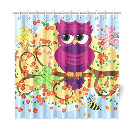 MKHERT Nice Owl Shower Curtain Home Decor Bathroom 66x72 Inch