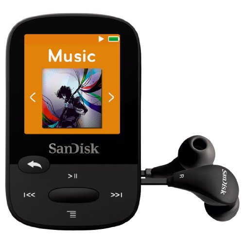 SanDisk Clip Sport 8GB MP3 Player, Black With LCD Screen and MicroSDHC Card Slot- SDMX24-008G-G46K