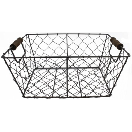 "Wire Basket W/Handles 11.75"" Rustic"