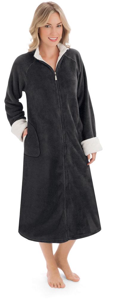 Collections EtcWomen\'s Zip Front Plush Knit Robe, Machine Washable ...
