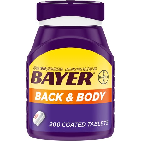 Bayer Back & Body Extra Strength Pain Reliever Aspirin w Caffeine, 500mg Coated Tablets, 200 (Best Muscle Relaxers For Anxiety)