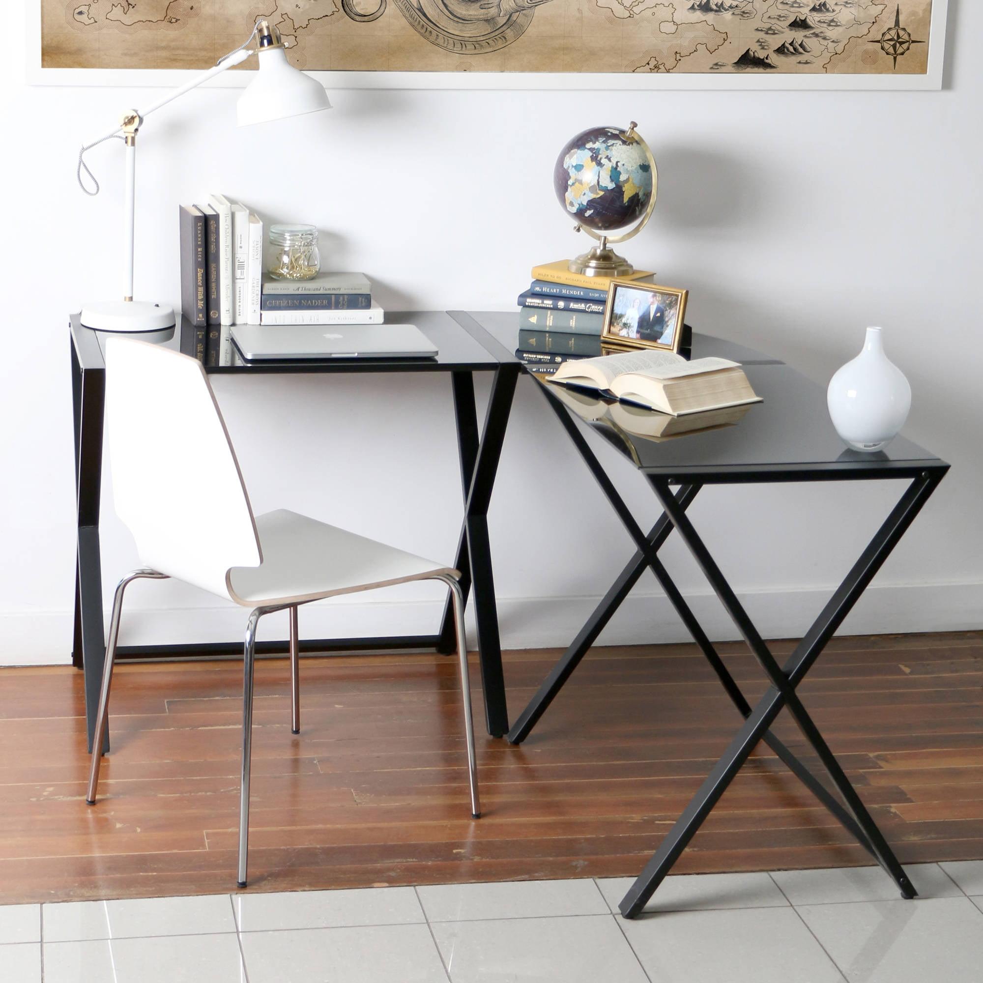 Glass and Metal X-Frame Corner Computer Desk, Black