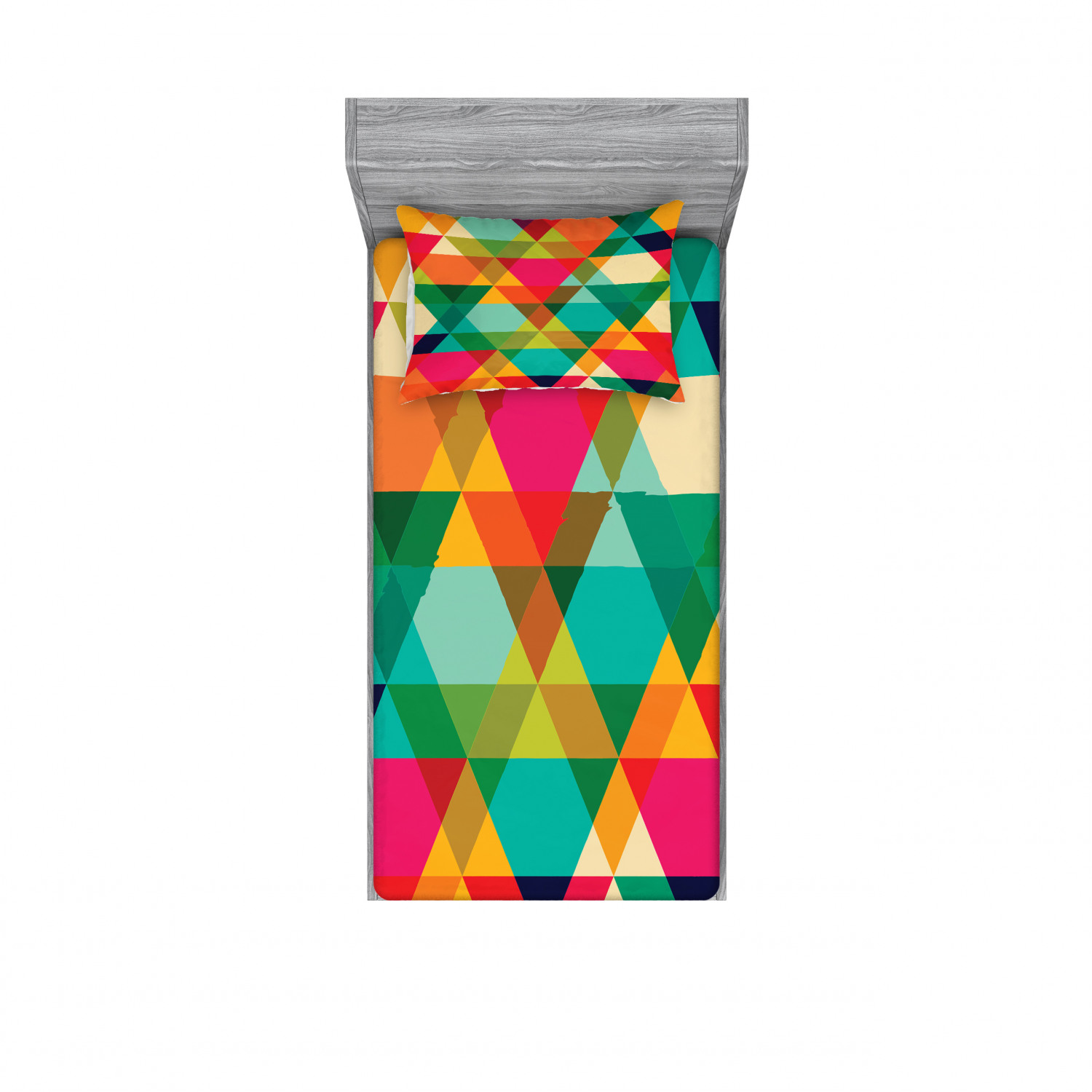 Geometric Bedding Set With Sheet Covers Abstract Geometric Pattern Vintage Inspired Retro Colors Old Style Graphic Art Printed Bedroom Decor 2 Shams 4 Sizes Multicolor By Ambesonne Walmart Com Walmart Com