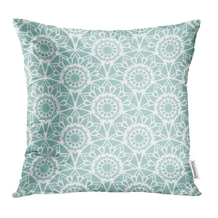 YWOTA Moroccan Rising Sun Stylish with Lacy Design Mint Ethnic Antique Persian Vintage Pillow Cases Cushion Cover 16x16 inch