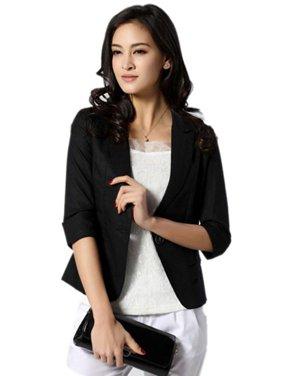 Women Girl Casual Short Blazer Coat 3/4 Sleeve Slim Suit Top