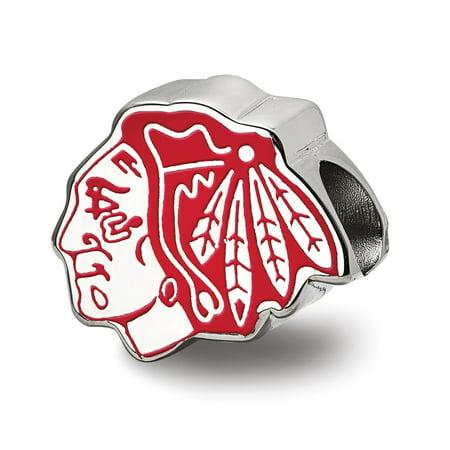 Mia Diamonds 925 Sterling Silver NHL LogoArt Chicago Blackhawks Enameled Logo Bead Charm for Charm