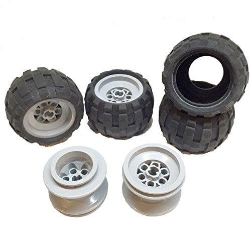 Black or Grey 4 Wheels /& Tyres Lego Technic non Electric Motor