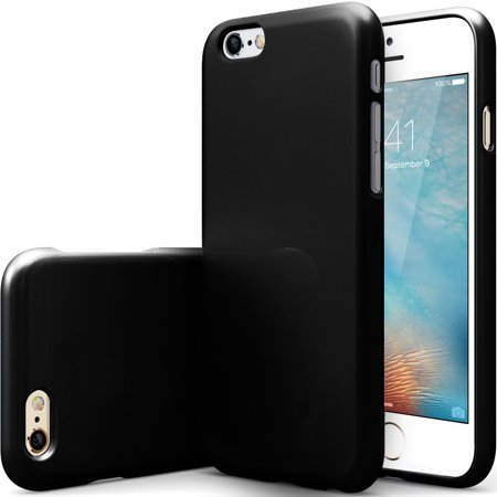 Apple iPhone 6S Case, [Black] Slim & Flexible Anti-shock Crystal Silicone Protective TPU Gel Skin Case Cover