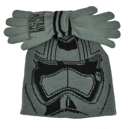Star Wars Captain Phasma Glove & Knit Set Cuffless Beanie Kids Youth Grey Movie