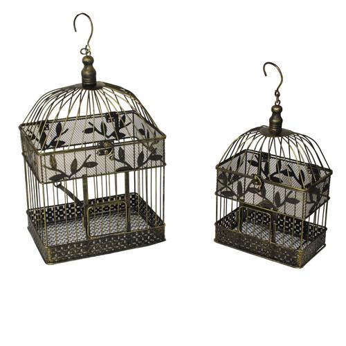 EC World Imports Urban 2 Piece Decorative Metal Bird Cages Set by ecWorld