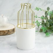 "Efavormart 8"" Gold Wrought Iron White Ceramic Vase Small Flower Pot For Wedding Decoration"