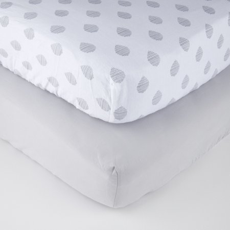 Parent's Choice 100% Cotton Fitted Crib Sheets, Gray Raindrop 2pk