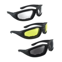 MLC Eyewear All Weather Motorcycle Riding Goggle Glasses Smoke Clear Yellow