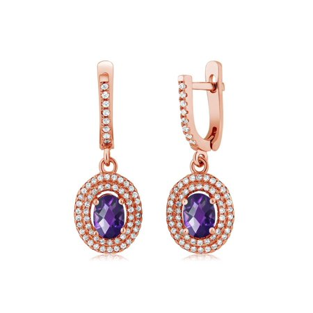 2.32 Ct Oval Checkerboard Purple Amethyst 925 Rose Gold Plated Silver Earrings