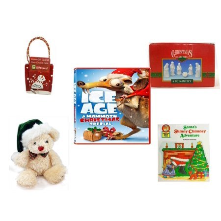 Chi Bears - Christmas Fun Gift Bundle [5 Piece] - Musical Gift Card Holder Snowman -  Collectable 6 Piece Nativity Porcelain 3.5