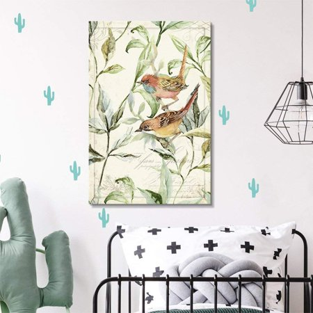 wall26 Canvas Wall Art - Vintage Style Bird on The Plants Floral Background - Giclee Print Gallery Wrap Modern Home Decor Ready to Hang - 32x48 inches