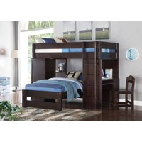 ACME Lars Wooden Frame Loft Bed & Twin Bed in Wenge