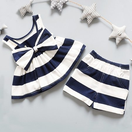 671650bac Princess Girls Red Black Navy-Blue Baby Outfits Summer Sleeveless ...