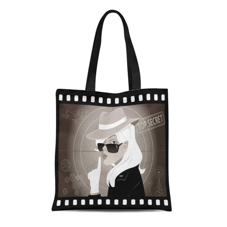SIDONKU Canvas Tote Bag Detective Mystery Woman in Old Movie No Transparencies Spy Reusable Shoulder Grocery Shopping Bags Handbag