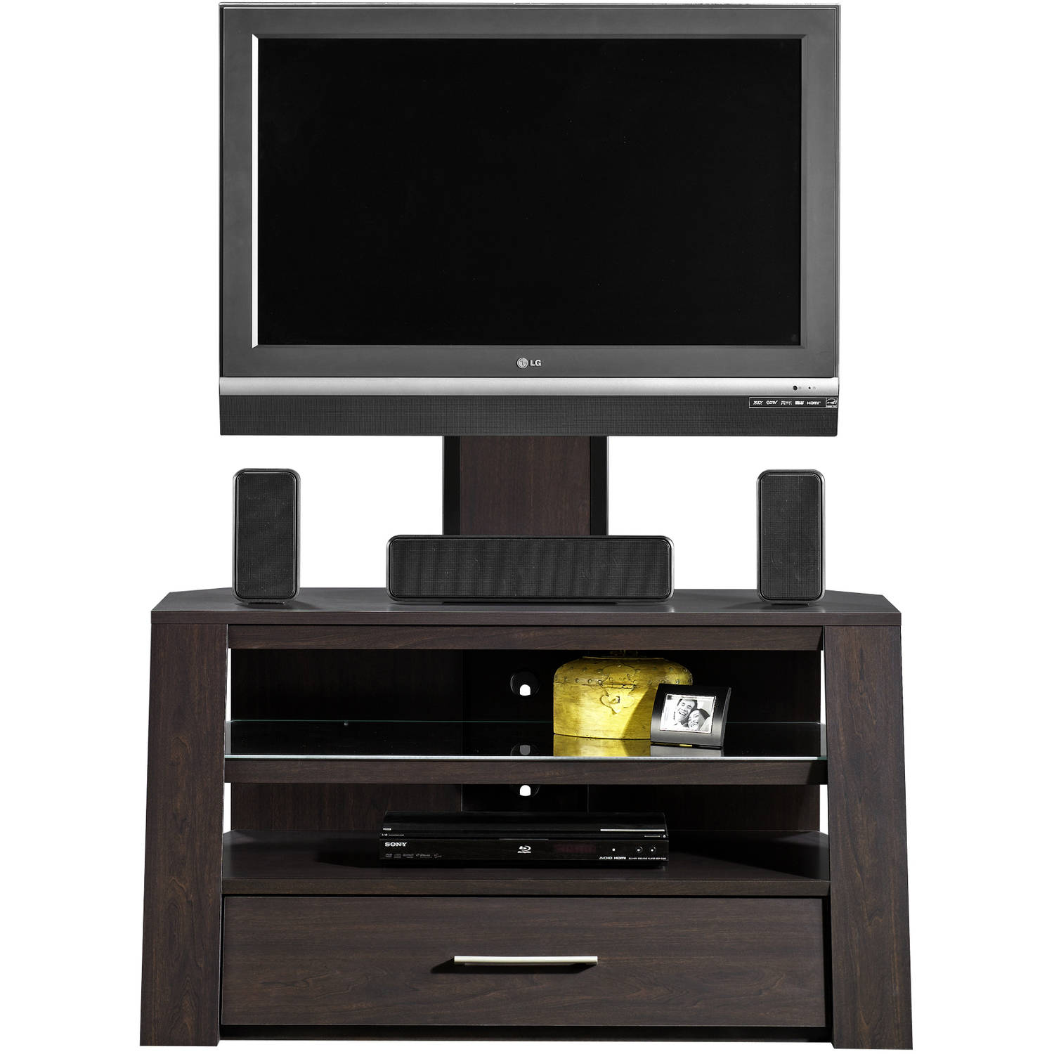 Sauder Jamocha Wood Tv Stand With Optional Mount For Tvs Up To 42