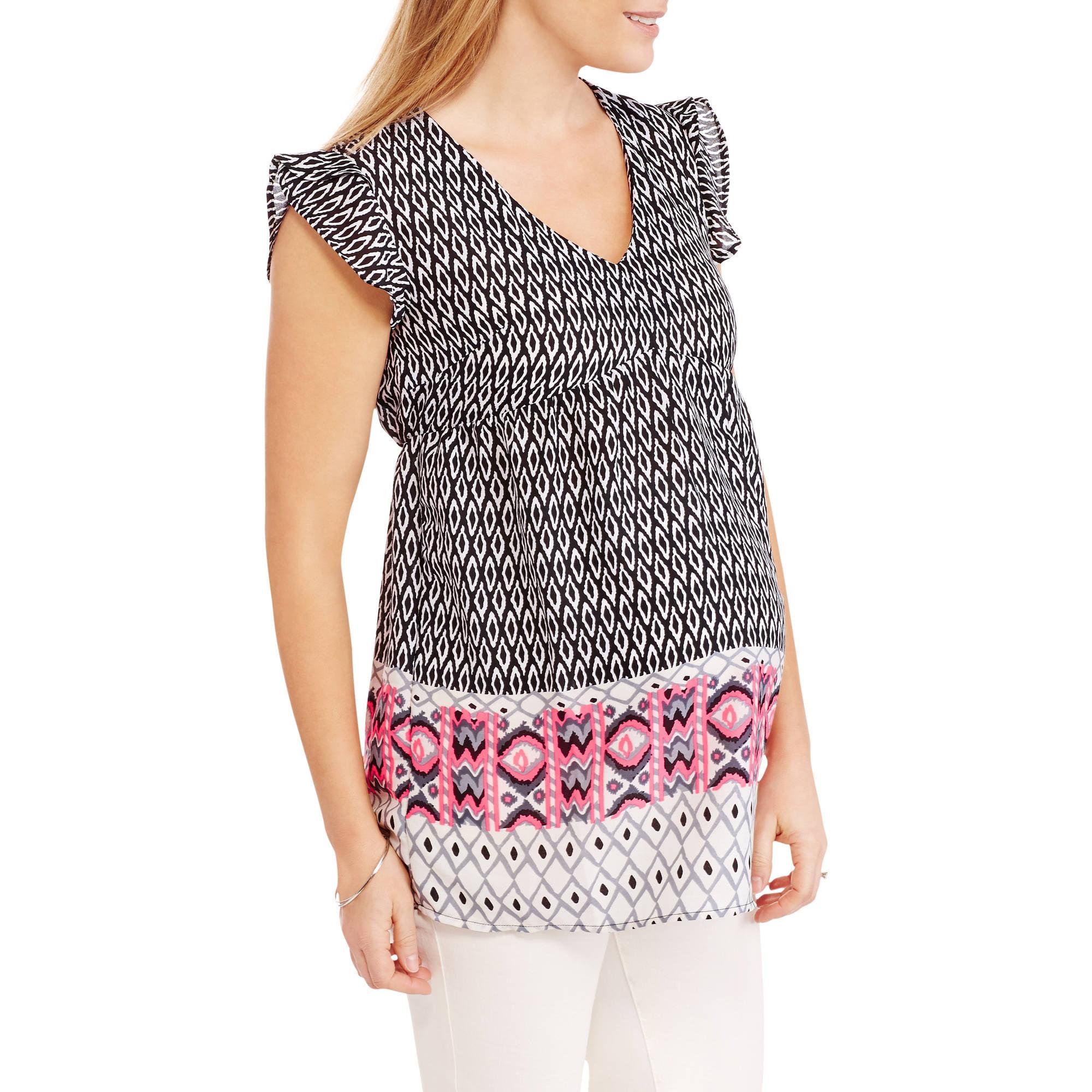Oh! Mamma Maternity Flutter Sleeve Border Print Shirt