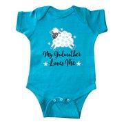 Inktastic Godmother Gift for Godson Lamb Infant Short Sleeve Bodysuit Male Turquoise 18 Months