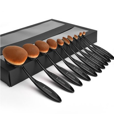 Set of 10 Belsion Makeup Brushes Professional Quality Soft and Dense Synthetic Hair Black