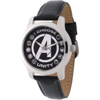 Marvel Classic Men's Avengers Logo, Captain America, Black Widow, Hulk, Ant-Man, Falcon, Wasp, Thor, Hawkeye, Black Panther, Iron Man Silver Alloy Watch, Black Leather Strap
