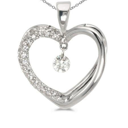 14K White Gold Dashing Diamonds Pendant with 18