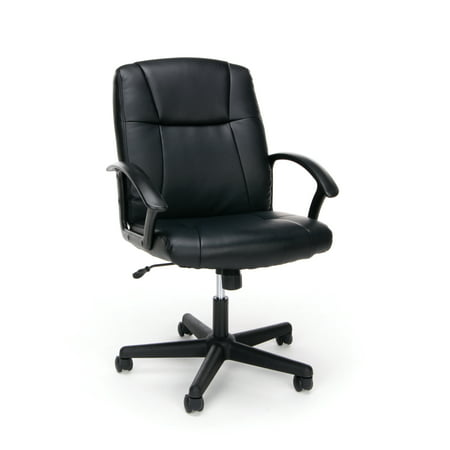 Essentials by OFM ESS-6000 Ergonomic Bonded Leather Executive Chair with Arms, Black