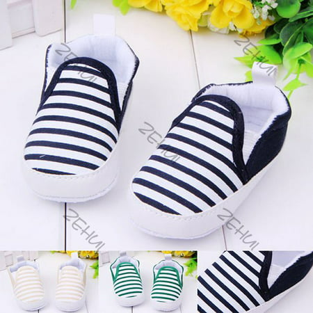 Kacakid Toddler Baby Girl Boy Stripe Anti-Slip Shoes Sneakers Soft Sole Crib Shoes