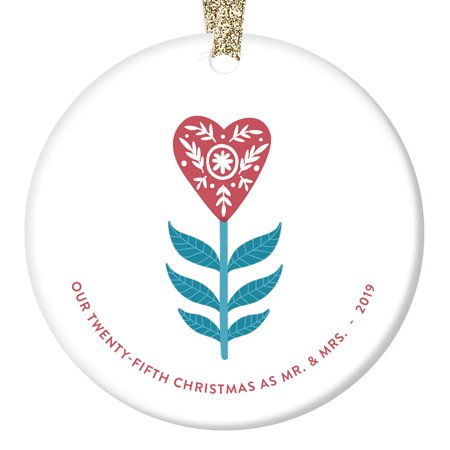 "25th Christmas as Mr & Mrs Ornament 2019 Dated Twenty-Fifth Wedding Anniversary Gift Couple 25 Twenty-Five Years Married Present Husband Wife Heart Decor Glossy 3"" Flat Circle Gold Ribbon OR00755-25 ()"
