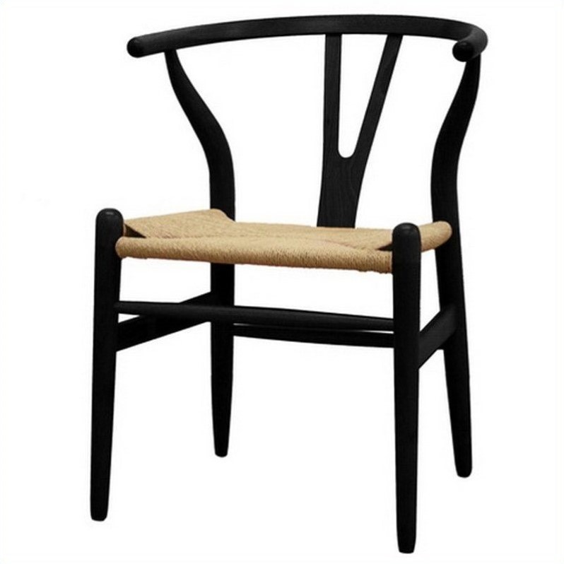 Wholesale Interiors Baxton Studio Wishbone Dining Y Chair in Black