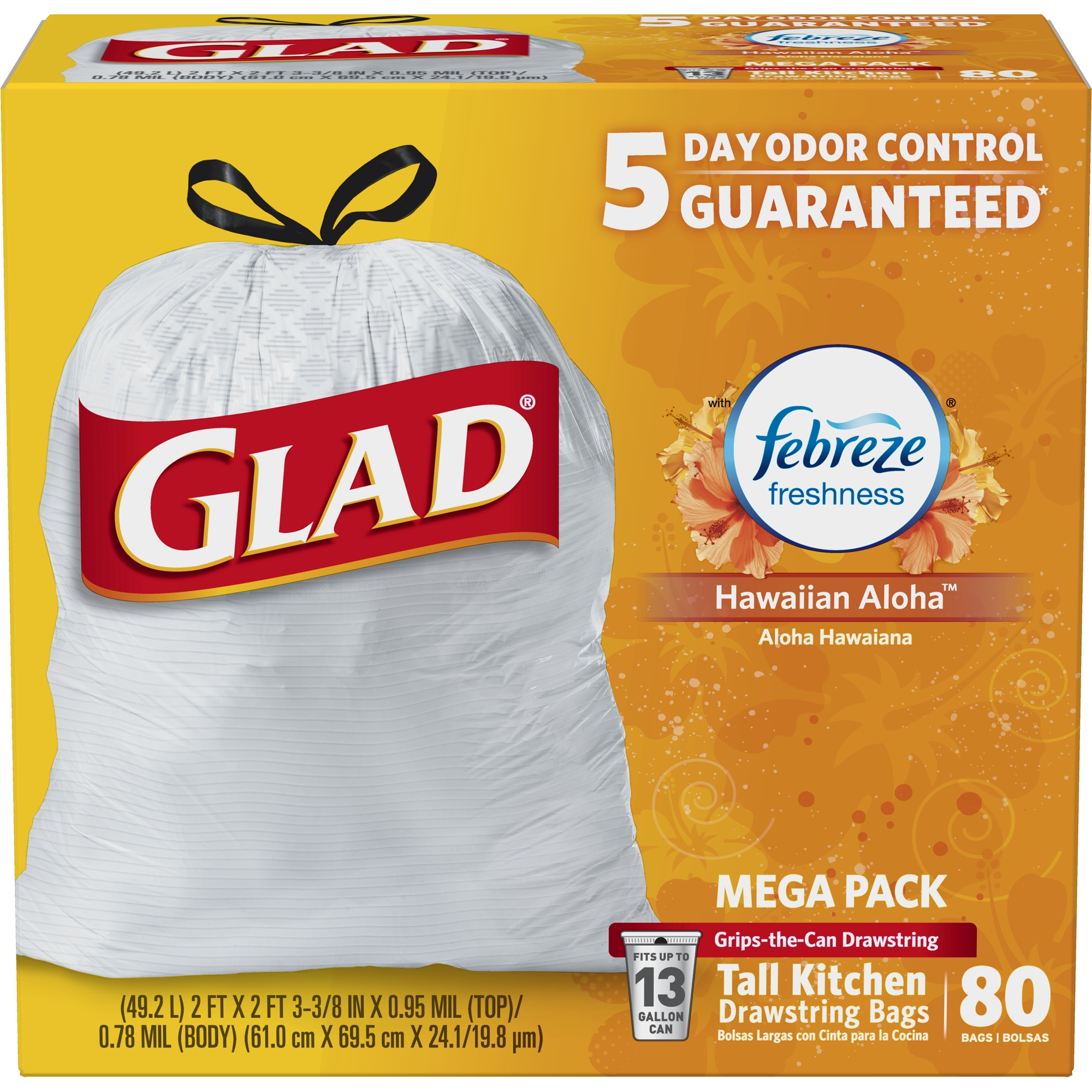 Glad OdorShield Tall Kitchen Drawstring Trash Bags - Febreze Hawaiian Aloha - 13 Gallon - 80 ct