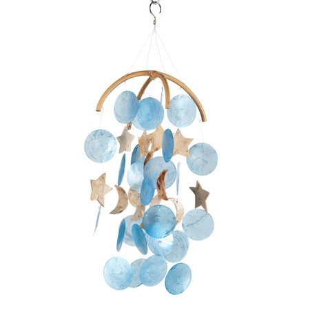 Woodstock Asli Arts 19 Inch Dark Blue Moon and Star Capiz Wind Chime