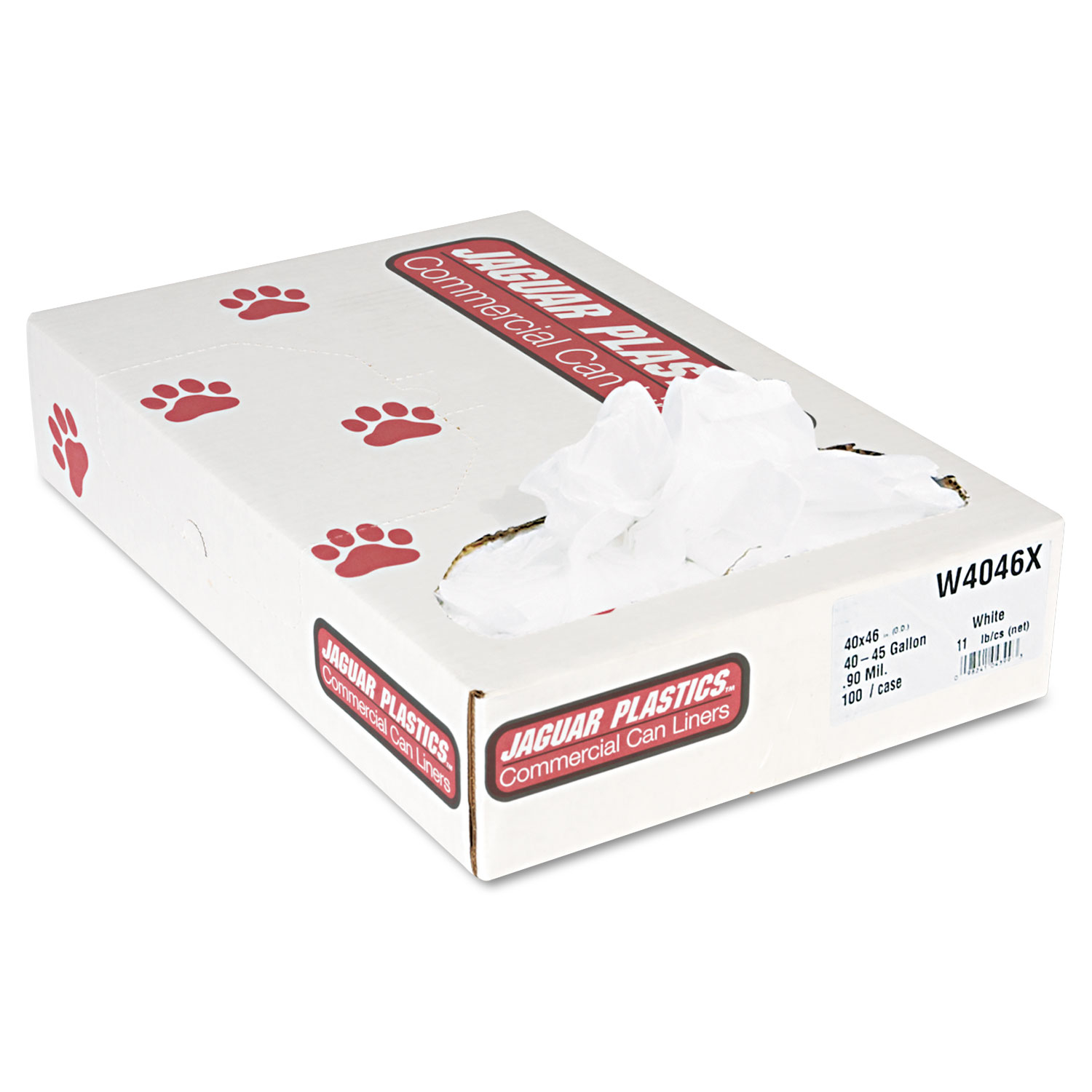 Jaguar Plastics Industrial Strength White Commercial Can Liners, 45 gal, 100 ct