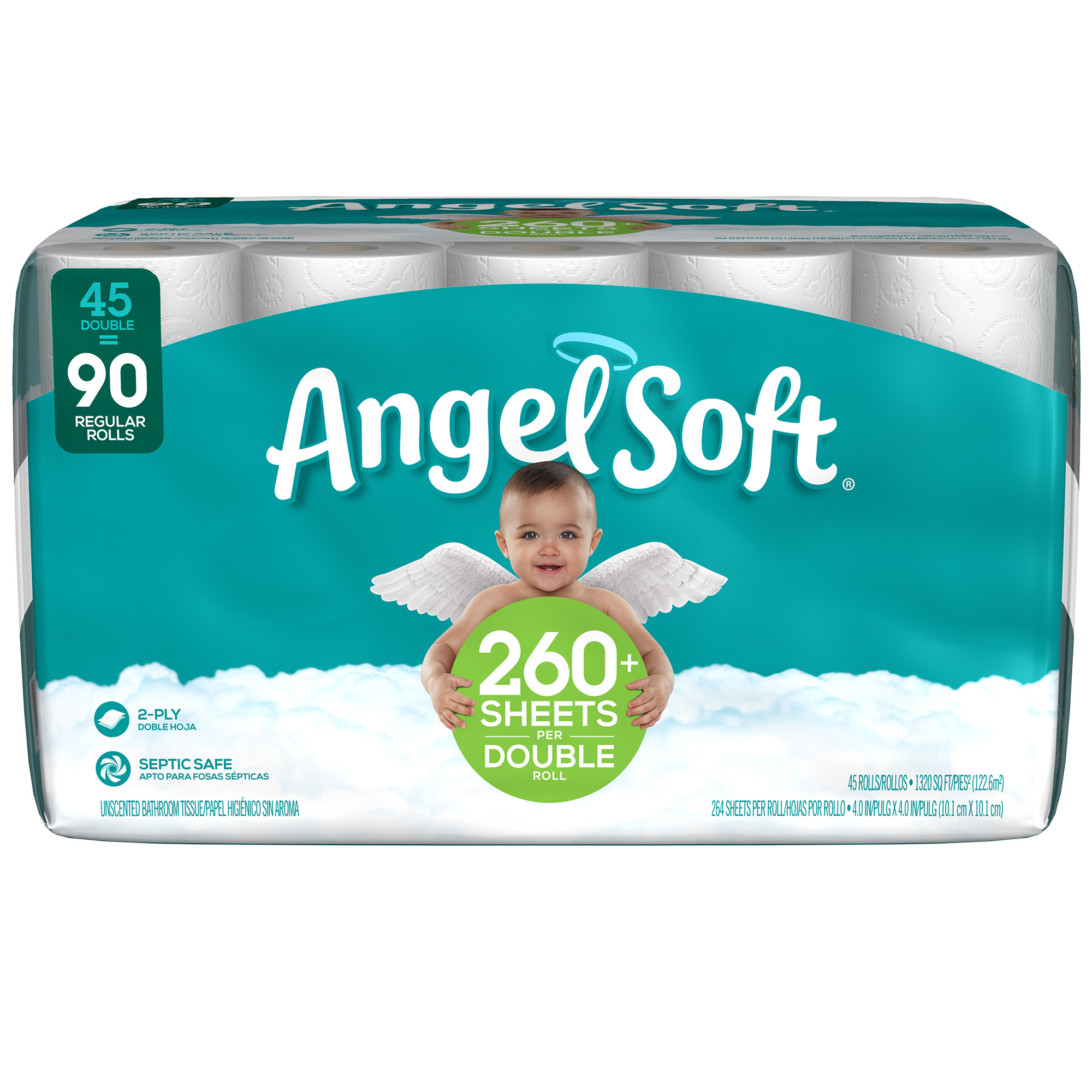Angel Soft Toilet Paper, 45 Double Rolls