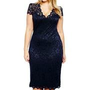 Women's V Neck Lace Sheath Dress