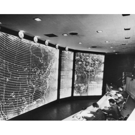 High angle view of four men sitting in a control room North American Aerospace Defense Combat Operations Center Colorado Springs Colorado USA Poster Print (Party America Colorado Springs)