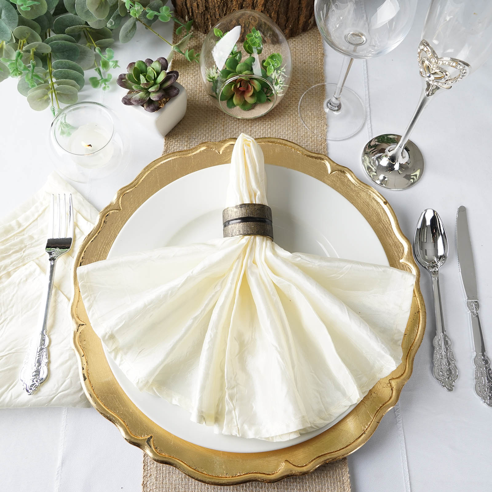 BalsaCircle 5 pcs 20 inch Taffeta Crinkle Napkins - Wedding Party Events Restaurant Dinner Kitchen Home Decorations