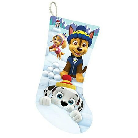"Paw Patrol Marshall Chase Rubble CHRISTMAS STOCKING 18/"" Sock Blue White Fuzzy"