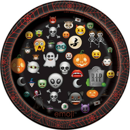 Emoji Halloween Paper Plates, 7 in, 8ct